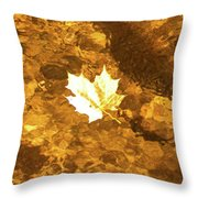 Golden Leaf In Water Throw Pillow