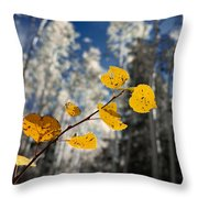 Golden Leaves Against A Muted Forest Throw Pillow