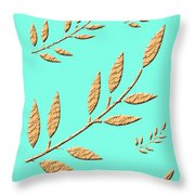 Golden Leaves On Aqua Throw Pillow