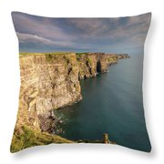 Golden Light At The Cliffs Of Moher Throw Pillow