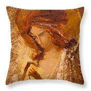 Golden Light Of Angel. Fragment Throw Pillow