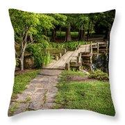 Golden Light On Footbridge Japanese Garden Maymont Throw Pillow