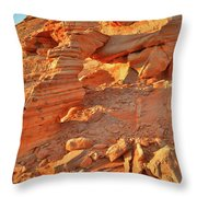 Golden Light On Valley Of Fire Arch Throw Pillow
