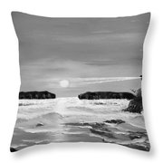 Golden Lighthouse Sunset In Black And White Throw Pillow