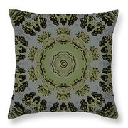 Mandala In Pewter And Gold Throw Pillow