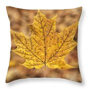 Golden Maple Leaf Throw Pillow