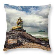 Golden Mermaid Thailand Throw Pillow