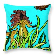 Golden Mermaid Throw Pillow