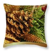 Golden Merry Christmas  Throw Pillow