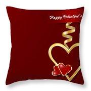 Golden Metal Frame Heart Throw Pillow