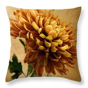 Golden Mum Throw Pillow
