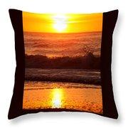 Golden Ocean City Sunrise Throw Pillow