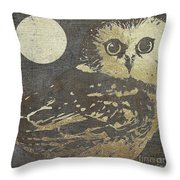 Golden Owl Throw Pillow