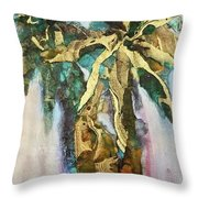 Golden Palm Throw Pillow