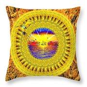 Golden Parrot Mandala Throw Pillow