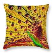 Golden Peacock Throw Pillow