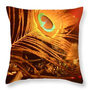 Golden Peacock Feather Throw Pillow