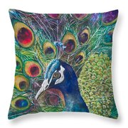Golden Peacock Throw Pillow