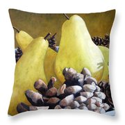 Golden Pears And Pine Cones Throw Pillow