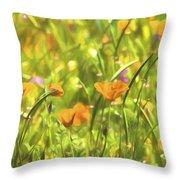 Golden Poppies In A Gentle Breeze  Throw Pillow