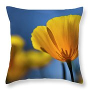 Golden Poppy Reaching For The Skies  Throw Pillow