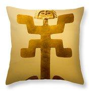 Golden Pre-columbian Figure Throw Pillow