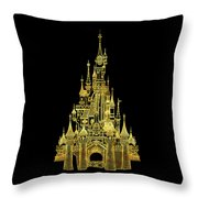 Golden Princess Fairytale Castle Throw Pillow