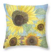 Golden Quartet Throw Pillow