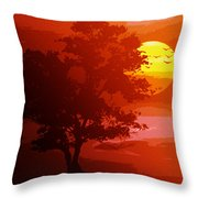 Golden Rays Of The Sun  Throw Pillow