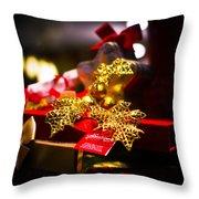 Golden Red Throw Pillow