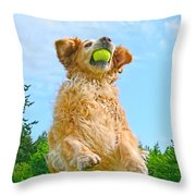 Golden Retriever Catch The Ball  Throw Pillow