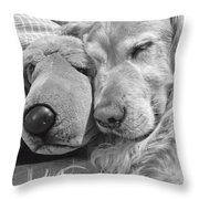 Golden Retriever Dog And Friend Throw Pillow