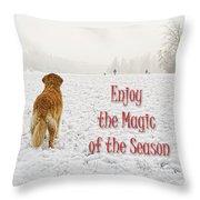 Golden Retriever Dog Magic Of The Season Throw Pillow