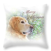 Golden Retriever Dog Merry Christmas Card Throw Pillow