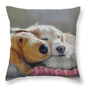 Golden Retriever Dog Sleeping With My Friend Throw Pillow by Jennie Marie Schell