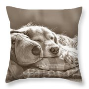 Golden Retriever Dog Sleeping With My Friend Sepia Throw Pillow