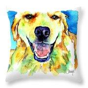 Golden Retriever Portrait Throw Pillow by Christy  Freeman