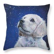Golden Retriever Pup In Snow Throw Pillow