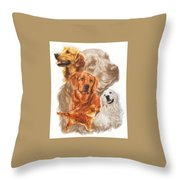 Golden Retriever W/ghost Throw Pillow