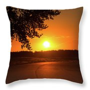 Golden Road Sunrise Throw Pillow