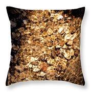 Golden Gravel Throw Pillow