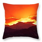 Golden Rocky Mountain Sunset Throw Pillow