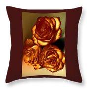 Golden Roses 3 Throw Pillow
