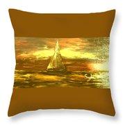 Golden Sailboat Days Throw Pillow