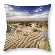 Golden Sand Lines And Seaweed Rocks Of Norfolk Throw Pillow