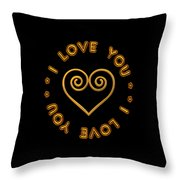 Golden Scrolled Heart And I Love You Throw Pillow