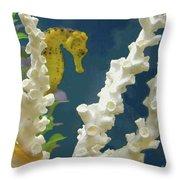 Golden Seahorse Throw Pillow