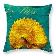 Golden Shell Throw Pillow