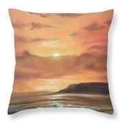 Golden Shoreline Throw Pillow