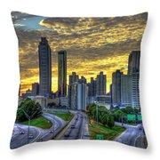 Golden Skies Atlanta Downtown Sunset Cityscape Art Throw Pillow